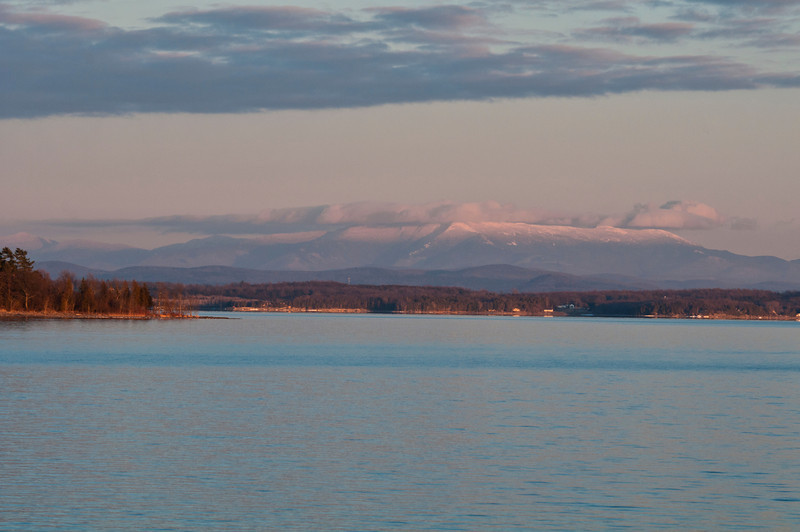 February 20 - View from New York State across Lake Champlain of Vermont