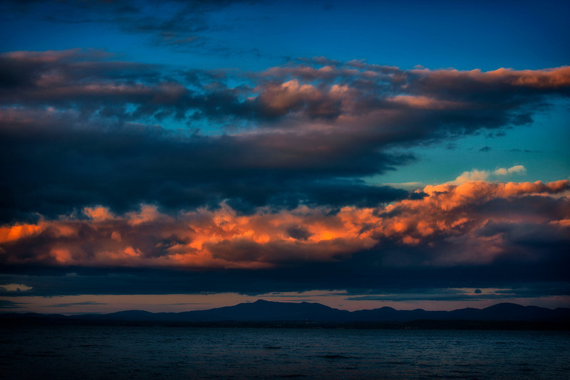 July 24 - View across Lake Champlain from New York State towards Vermont.