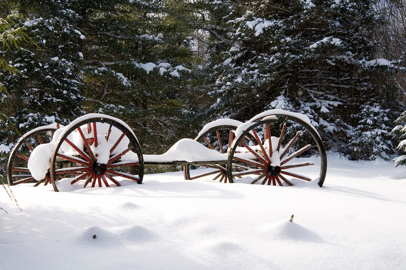 January 21 - Old wagon in Loon Lake, NY.  The Loon Lake in the extreme northern Adirondack Mountains.