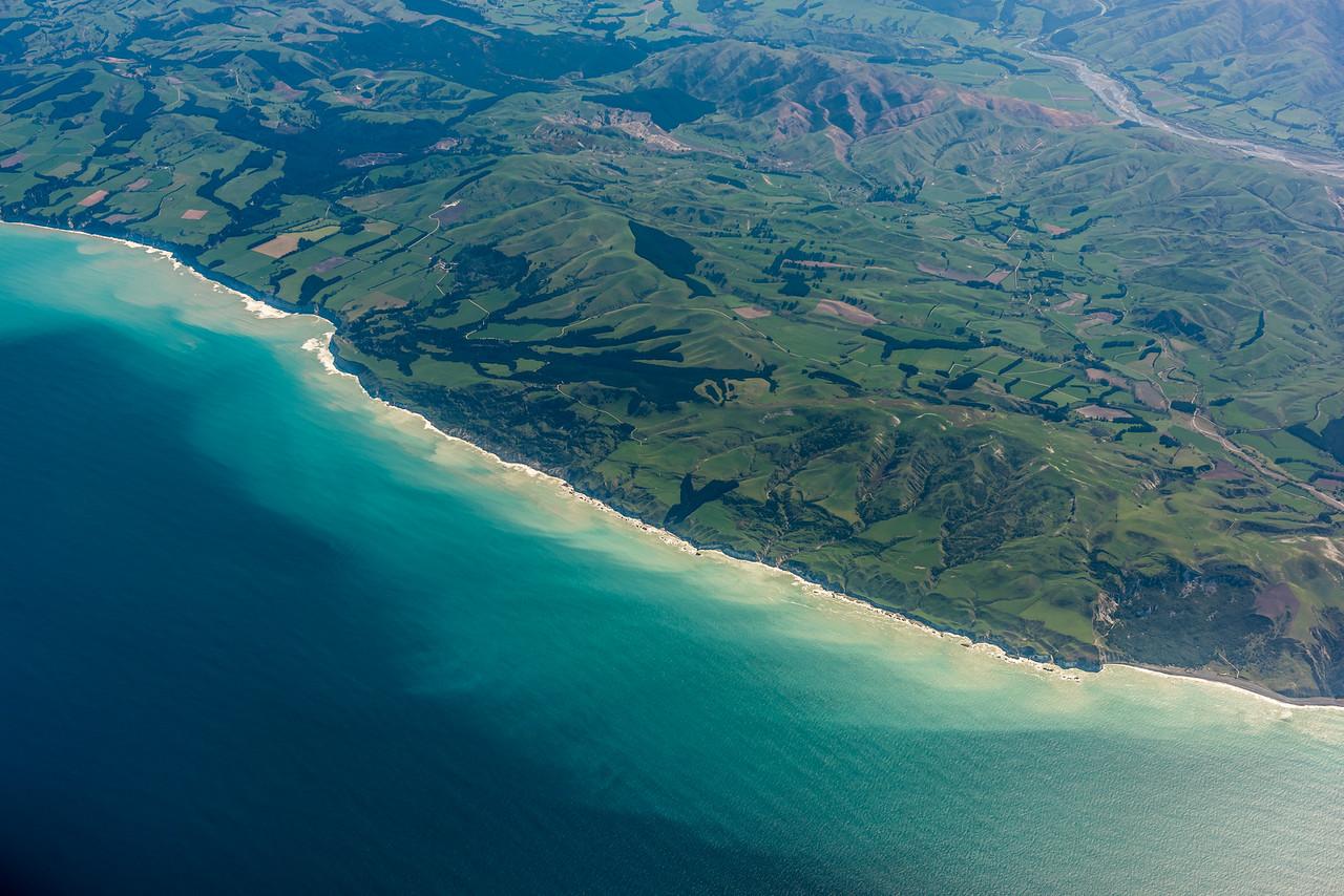 The coast just south of the Hurunui River. Air New Zealand flight Wellington to Dunedin.