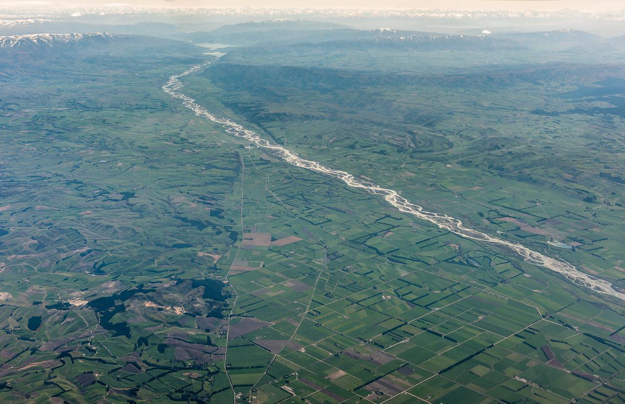 Waitaki River. Air New Zealand flight Wellington to Dunedin.