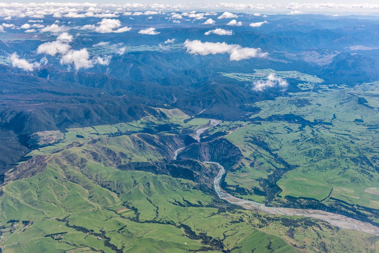 Ngaruroro River gorge. Air New Zealand flight from Napier to Wellington.