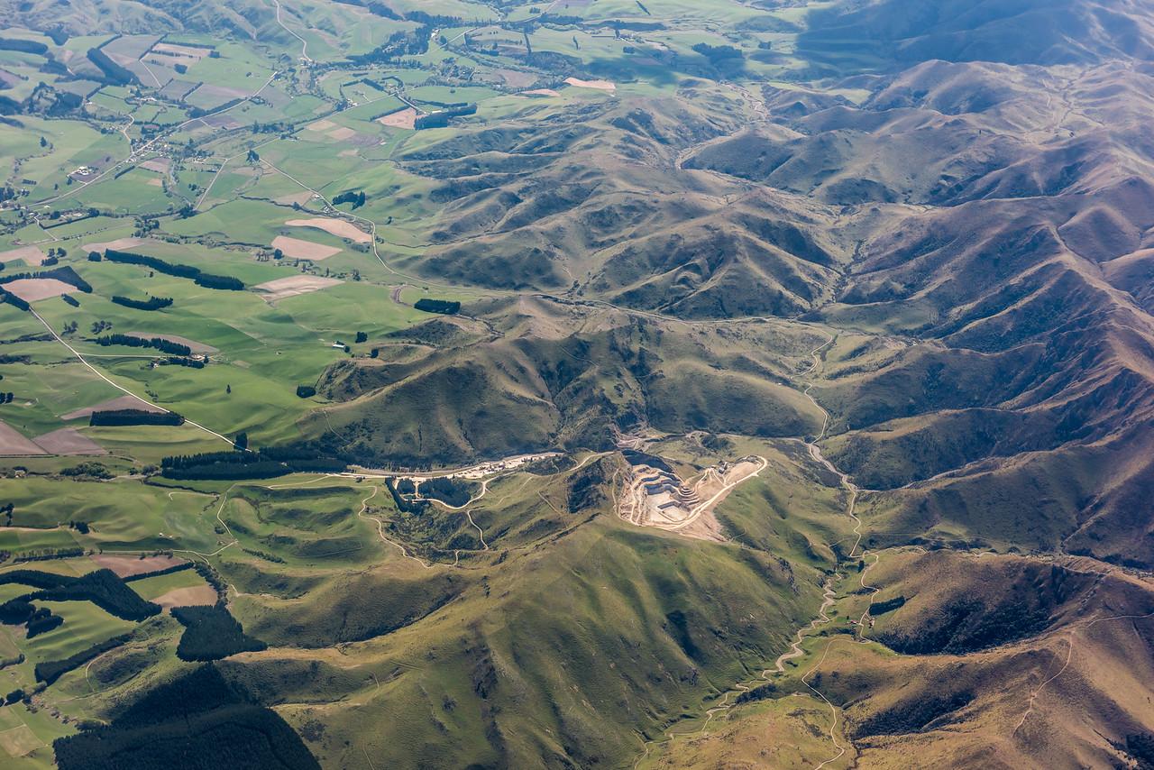 Blue Mountains limeworks, Dunback. Air New Zealand flight Wellington to Dunedin.