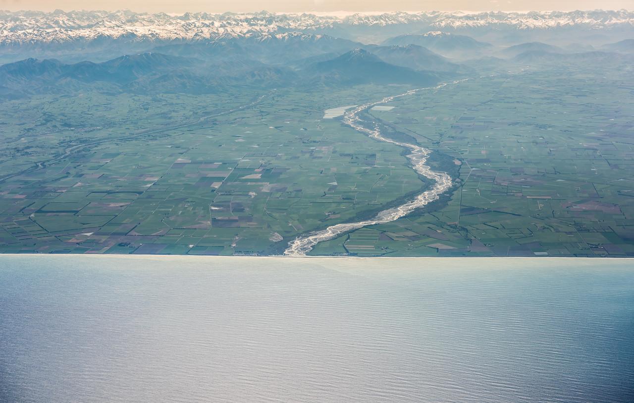 Rangitata River. Air New Zealand flight Wellington to Dunedin.