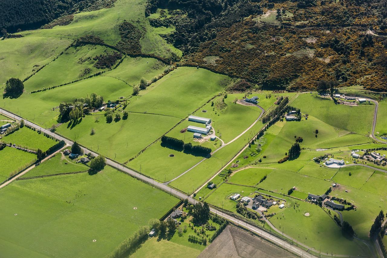On Outram - Mosgiel Road. Air New Zealand flight Wellington to Dunedin.