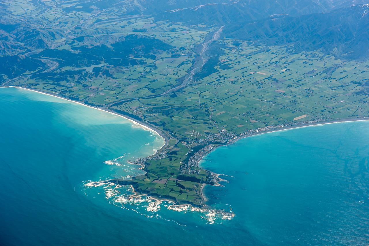 Kaikoura Peninsula. Kowhai River and Kahutara River on the left. Air New Zealand flight Wellington to Dunedin