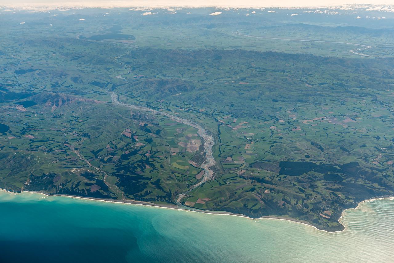 Hurunui River and Point Gibson. Air New Zealand flight Wellington to Dunedin.