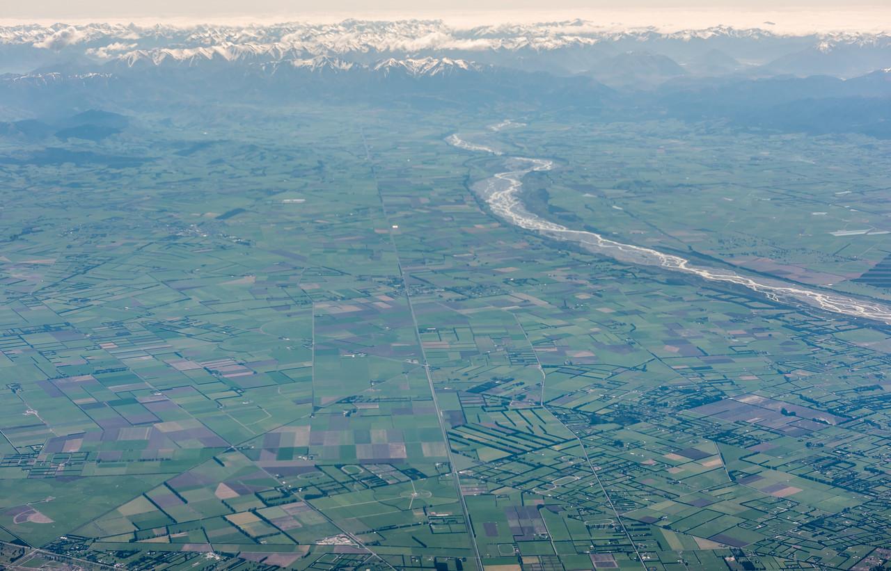 Waimakariri River. Air New Zealand flight Wellington to Dunedin.