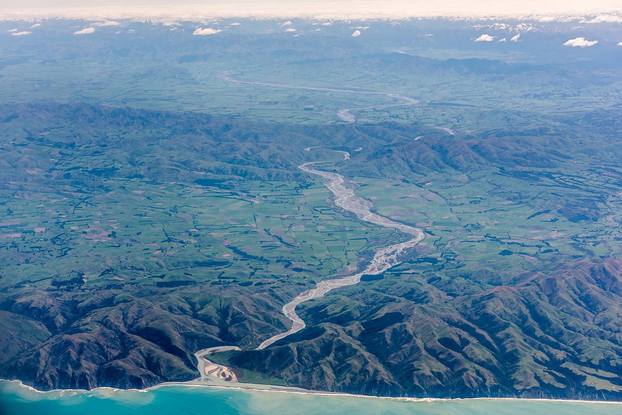 Waiau River. Air New Zealand flight Wellington to Dunedin.