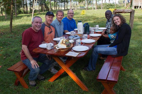 Bob, Mark, David and Peter enjoy an outdoor breakfast at Juli & Titus's home with Juli, Titus (taking the photo) David and Jaydon.