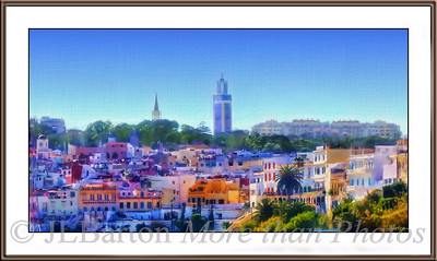Scenic Tangier Morocco Hassan II Mosque and Catholic church tower above the skyline