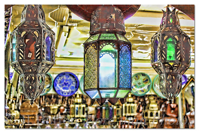 In the Bazaar Brass and glass hanging lanterns Tangier, Morocco