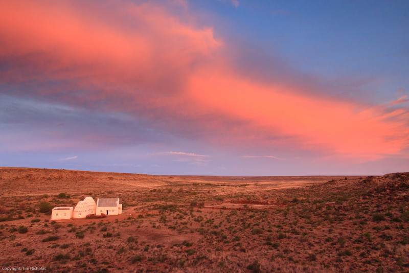 Bathed in red. Sundown over Stuurmansfontein Corbelled House