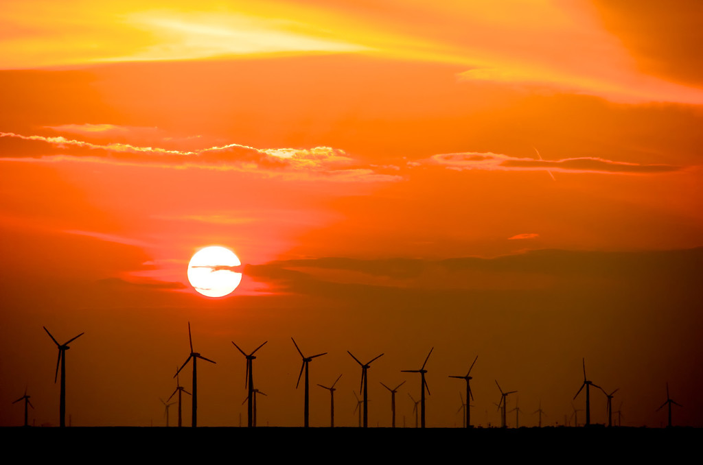 Wind turbines at sunset on the southern High Plains. This photo was taken south of Snyder, Texas.