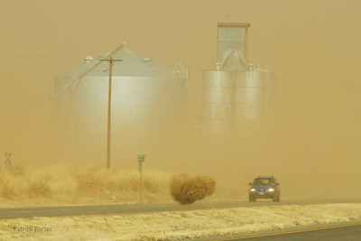 A windy day on the highway south of Lubbock. This wind storm had gusts of 70 mph and was able to move tumbleweeds almost as big as cars.