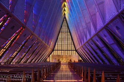Inside the Air Force Academy Chapel in Colorado Springs, CO,