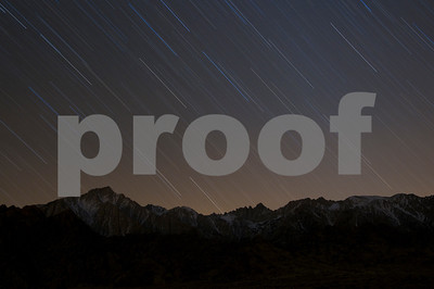 Star Trails over Lone Pine Peak and Mt. Whitney.  Alabama Hills, Lone Pine, California