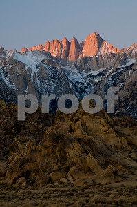 Sunrise Alpenglow over Mt. Whitney.  Alabama Hills, Lone Pine, California