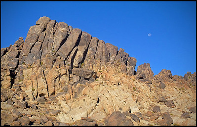 Moon setting over Alabama Hills