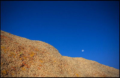 Moon Setting over a Sand Stone Wall  Alabama Hills, CA