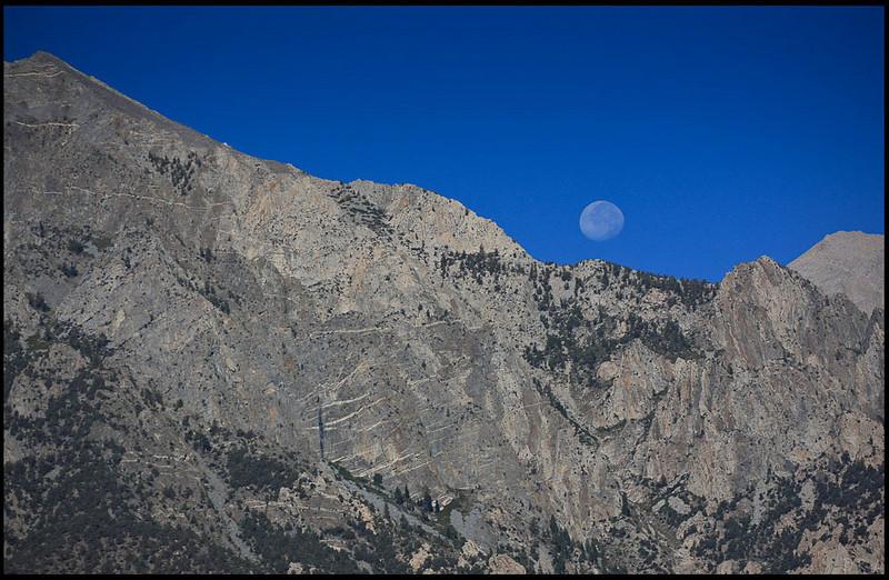 Moon set over Sierra Nevada Range  Alabama Hills, CA