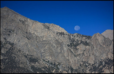Moon set over Sierra Nevada Range  Alabama Hills, CA