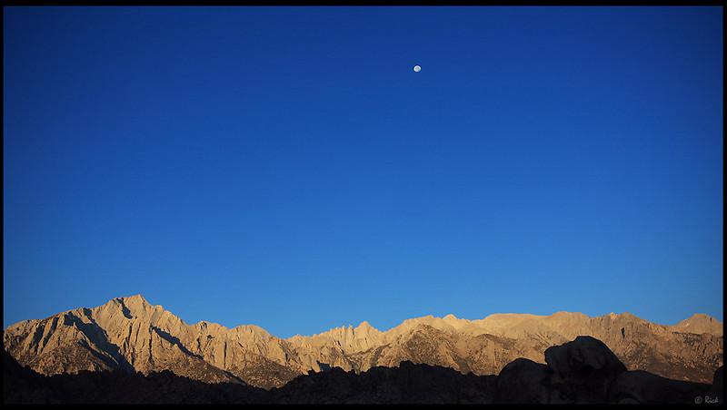 Mt. Whitney and Sierra Nevada, Sunrise and Moon Set  Alabama Hills, CA
