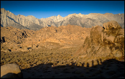 Shadows of Hikers and Mount Whitney, early morning  Alabama Hills, CA