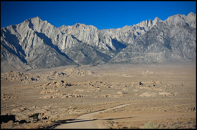 Mount Irvine (left) and Mount Whitney (right), viewed from Alabama Hills