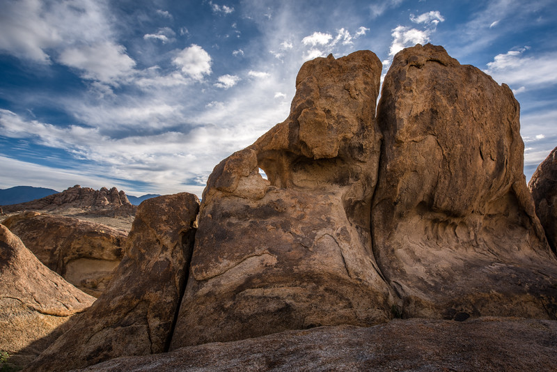 Amazing giant rock formations with blue sky and clouds at Alabama Hills, Lone Pine, California