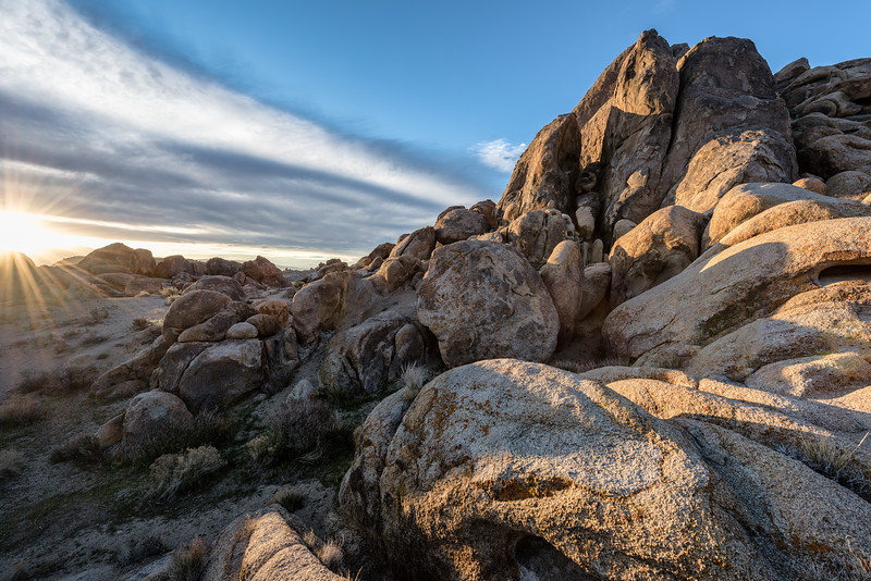 Textured, rocky boulders at sunrise in Alabama Hills, Lone Pine, California