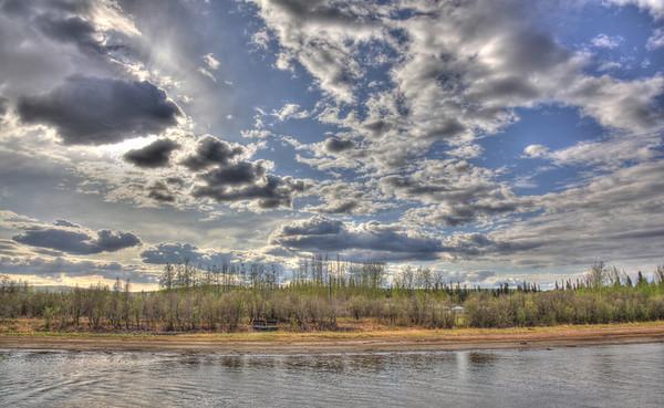 Fairbanks, Alaska cloudy skies over the Chena River.