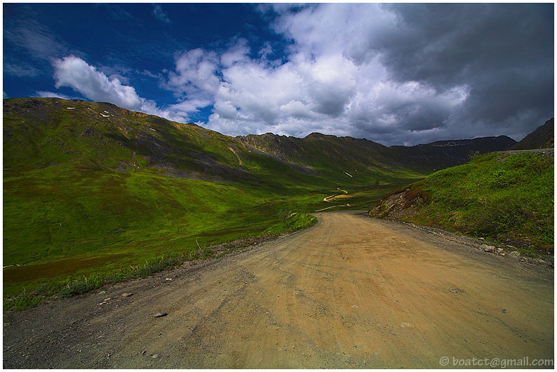 "Here is the ""road"" which we took to access Hatcher's Pass. To my eye this is one of the most striking locations in all of North America."