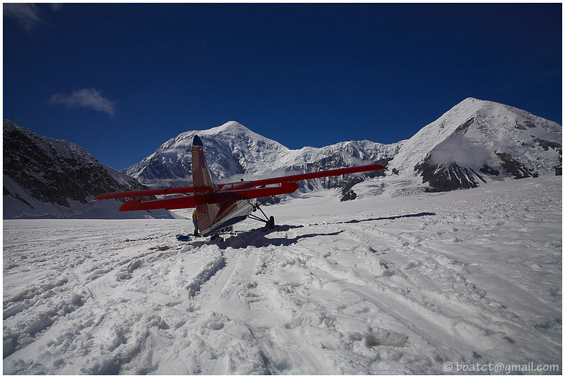 Quite the runway, eh? The plane is sitting on one of Alaska's biggest glaciers.