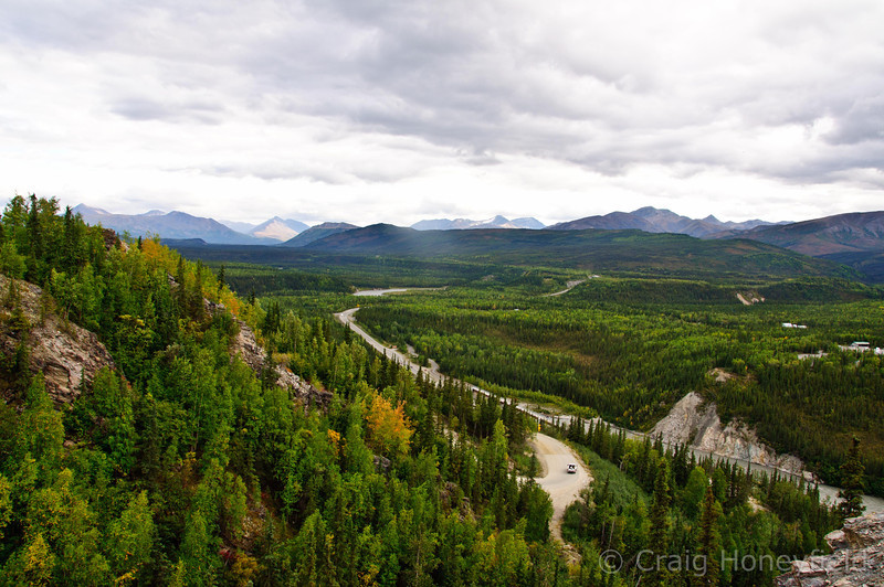 View from high mtn looking down on the Denali Hwy and Denali National Park