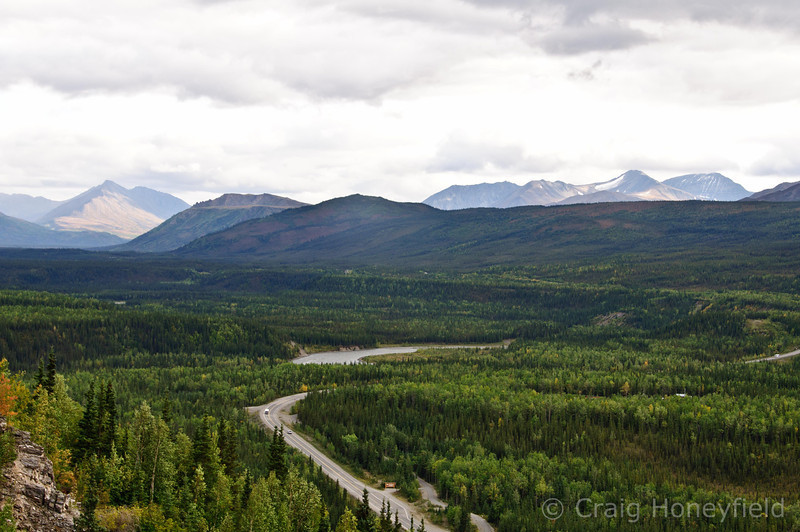 Denali Hwy with Mtns in the background