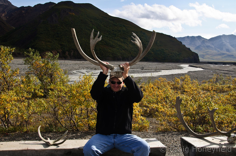 Craig trying on some Karibu antlers