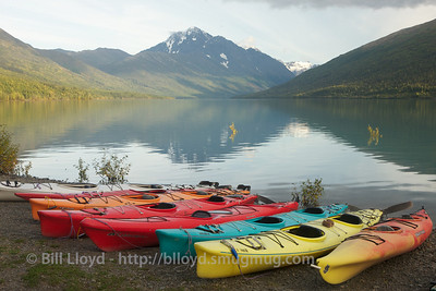 Kayaks on Eklutna Lake
