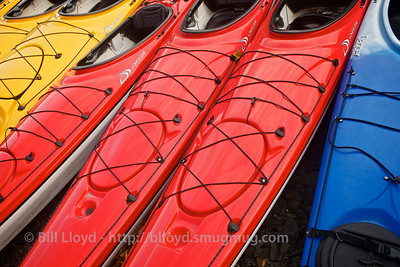 Colorful kayaks near Eklutna Lake