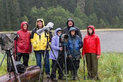 It rained steadily all day. From left: me, Mike Mercado, Lin Craft, Mark Rasmussen, Joyce Burzloff, and Ranger Jessie the Bear Whisperer.
