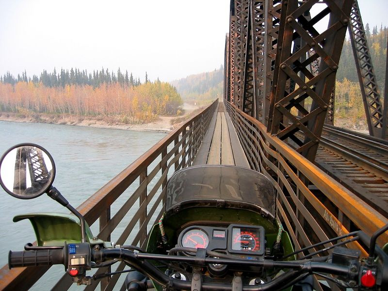 Going through the smoke over the Nenana River to Ferry.  This is the ONLY way over to Ferry so bring a small bike or four-wheeler.  This is the one trail I wish I'd discovered much earlier as it was beautiful back there and just miles of roads through the bush.