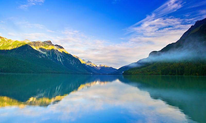 Alaska, Haines, Chilkoot Lake, Morning Fog,  Landscape, 阿拉斯加, 海恩斯