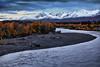 Alaska, Park Highway near Denali, Nenana River, Fall Colors, Dawn, 阿拉斯加, 迪纳利,  秋色