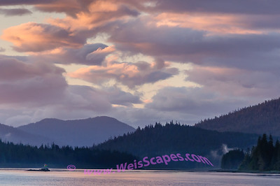 Sunset clouds over the southern entrance of the Wrangell Narrows.