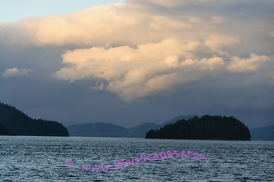 Sunset clouds over the Inside Passage of Alaska.