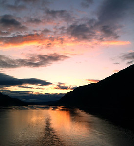 Leaving Juneau at sunset...taken at the stern of the ship