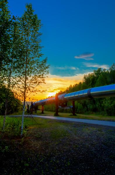 Midnight Sun over the Alaska Pipeline