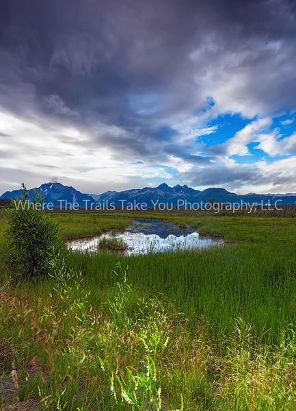 1.  Chugach Mountain Range Reflection