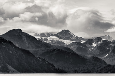 Clouds breaking up over Glacier Bay National Park, AK.