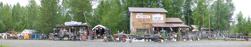 Junk store located on the Parks Road on the way from Anchorage to Denali. Panorama Denali Alaska